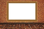 Sand wall background as wooden photo frame — Stock Photo