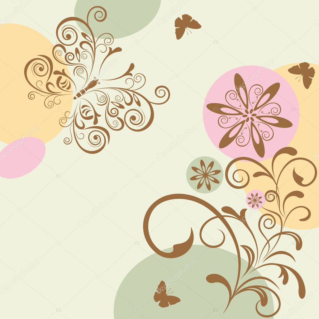 Abstract Floral and Butterfly. Illustration vector.   Stock Vector #4548101
