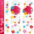 Stock vektor: Hibiscus blossoms design elements set