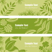 Green leaf banner set — Stock Vector