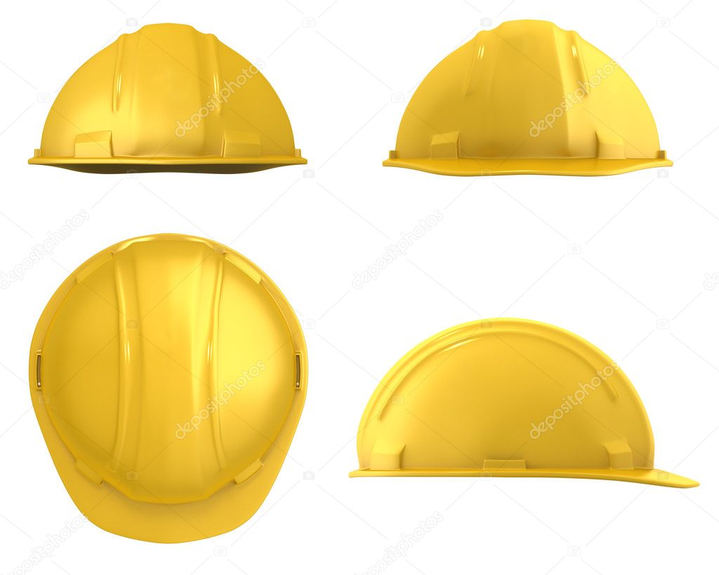 Four views of yellow helmet — Stock Photo #4060515