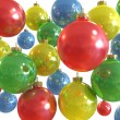 Background of multiple color christmas shiny balls isolated — Stock Photo #4356859