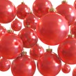 Stock Photo: Background of red christmas shiny balls isolated