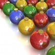 Lot of christmas glossy and shiny balls with different colors — Stock Photo #4356874