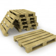 Wooden pallet and stack of pallets isolated on white — Stock Photo #4504077