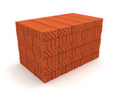 Stack of orange bricks isolated on white — Stock Photo