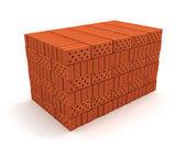 Stack of orange bricks isolated on white — Stock Photo