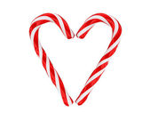 Hart gemaakt van Kerstmis snoepjes geïsoleerd — Stockfoto
