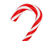 Traditional christmas candy cane closeup isolated — Stock Photo