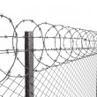 Chainlink fence with barbed wire on top closeup — Stock Photo