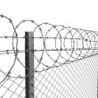 Chainlink fence with barbed wire on top closeup - Stock Photo