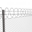 Chainlink fence with barbed wire on top — Stock Photo
