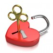Opened red lock formed as heart with a golden key in a keyhole — Stock Photo
