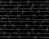 Lines of barbed wire on black background — Stock Photo