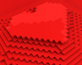 Pyramid with heart on top made of red cubic pixels, diagonal clo — Stock Photo
