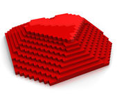 Pyramid with heart on top made of red cubic pixels,diagonal view — Stock Photo