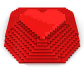 Pyramid with heart on top made of red cubic pixels, front view — Stock Photo