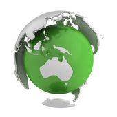 抽象绿色地球,澳大利亚部分 — 图库照片