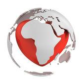 Globo con cuore, parte di africa — Foto Stock