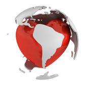Globe avec cœur, partie de l'amérique du sud — Photo