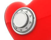 červené srdce s detailní číselné bezpečné uzamčení — Stock fotografie