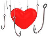 Many hooks trying to catch red heart — Stock Photo