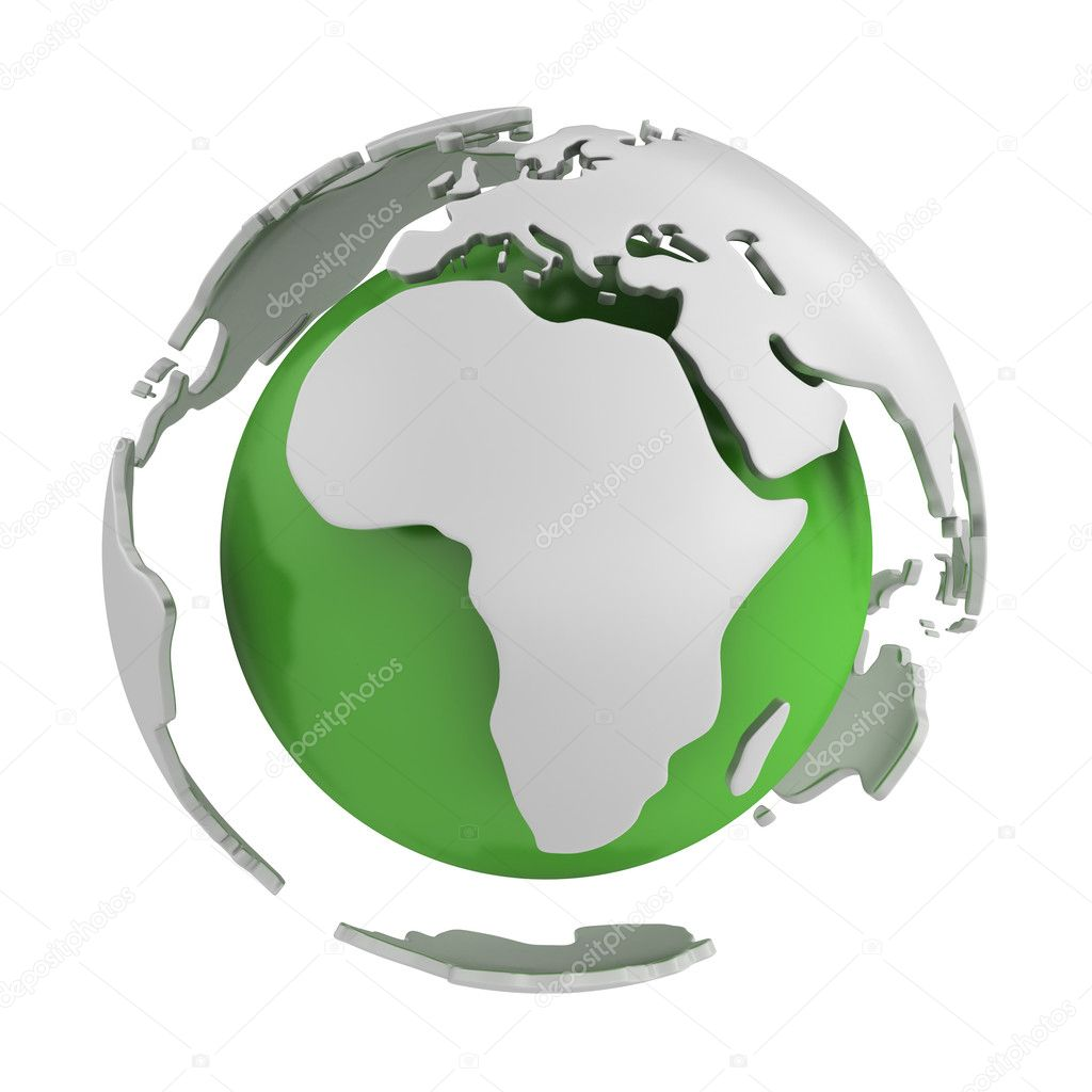 Abstract green globe, Africa part isolated on white background  Stock Photo #5095174