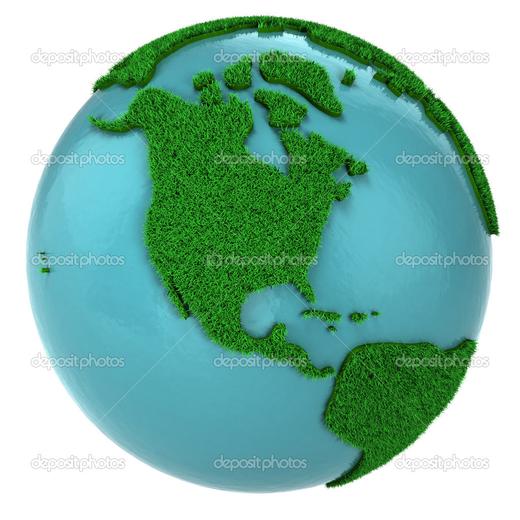 Globe of grass and water, North America part, isolated on white background — Stock Photo #5095253