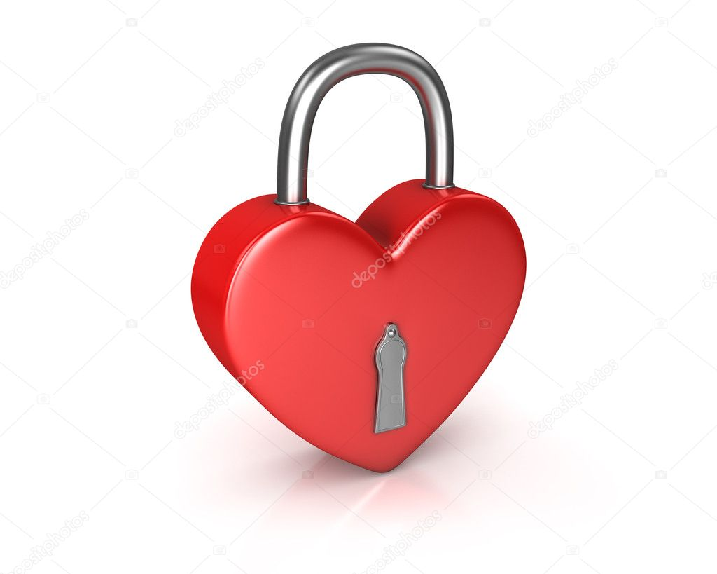 Red lock formed as heart isolated on white background  Stock Photo #5095299