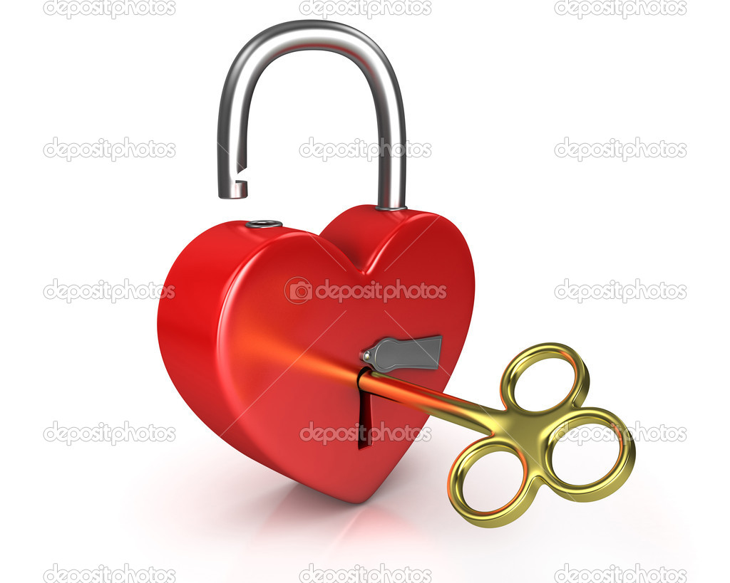 Opened red lock formed as heart with a golden key in a keyhole isolated on white background  Stock Photo #5095306
