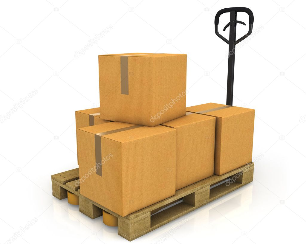 Stack of carton boxes on a pallet with a pallet truck isolated on white background — Stock Photo #5095368