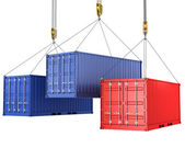 Three freight containers are being hoisted — Stock Photo