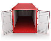 Opened red freight container isolated, front view — Стоковое фото