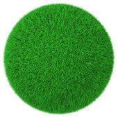 Ball made of green grass isolated — Stock Photo