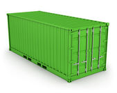 Green freight container isolated — Стоковое фото