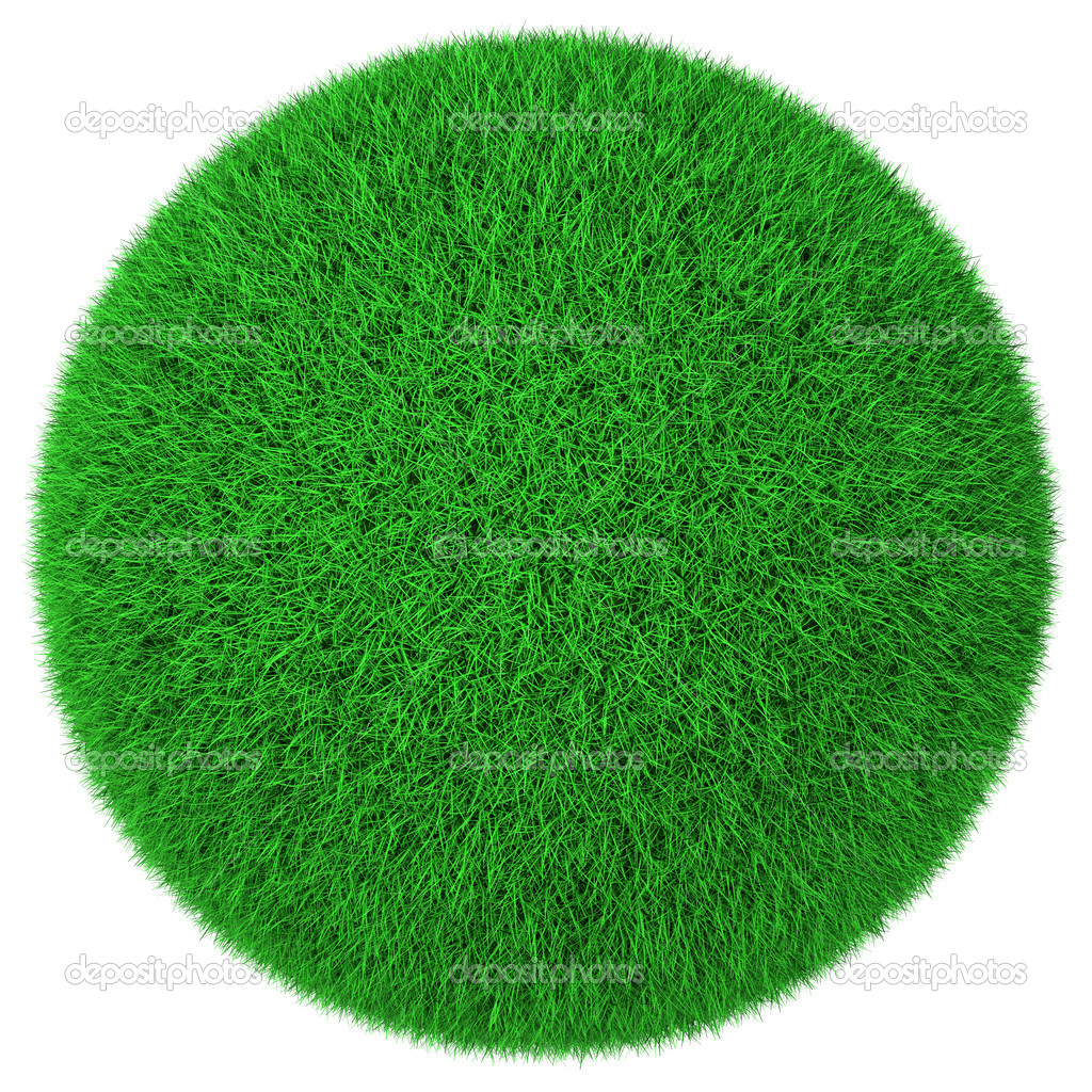 Ball made of green grass isolated on white background  Stock Photo #5268830