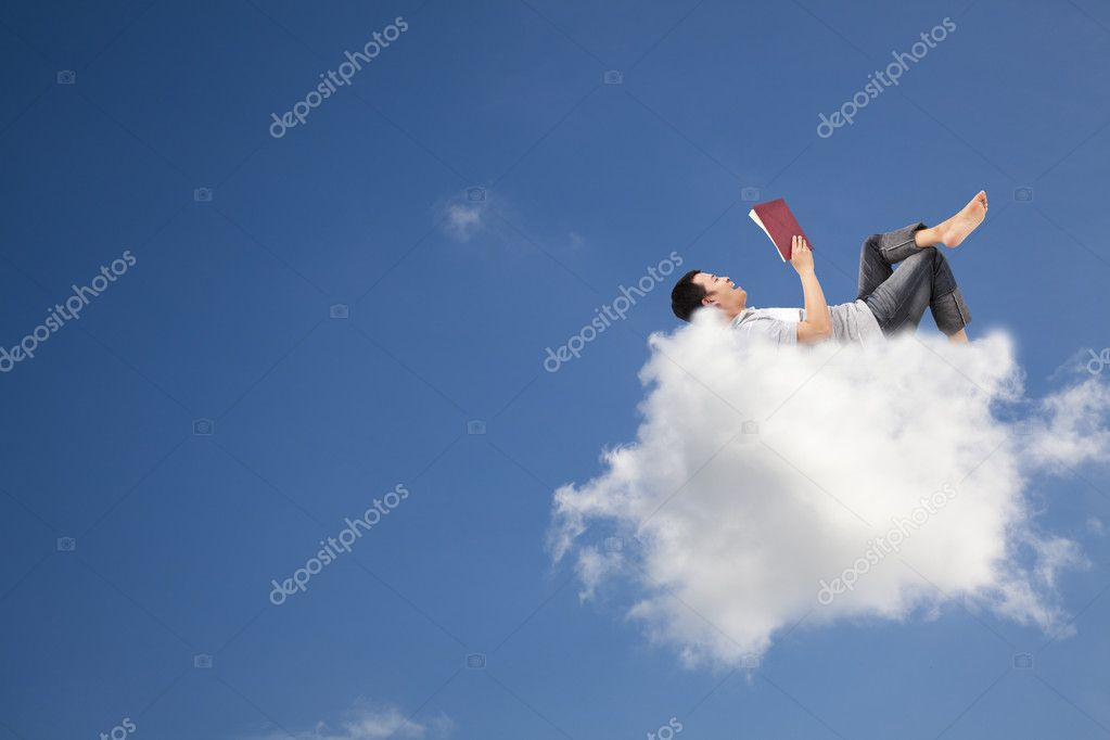 Relax and reading book on the cloud — Stock Photo #4184198