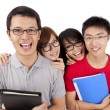 Stock Photo: Happy students standing together with fun