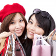 Asian shopping girl isolated — Stock Photo
