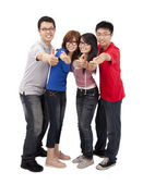 Four happy young student — Stock Photo