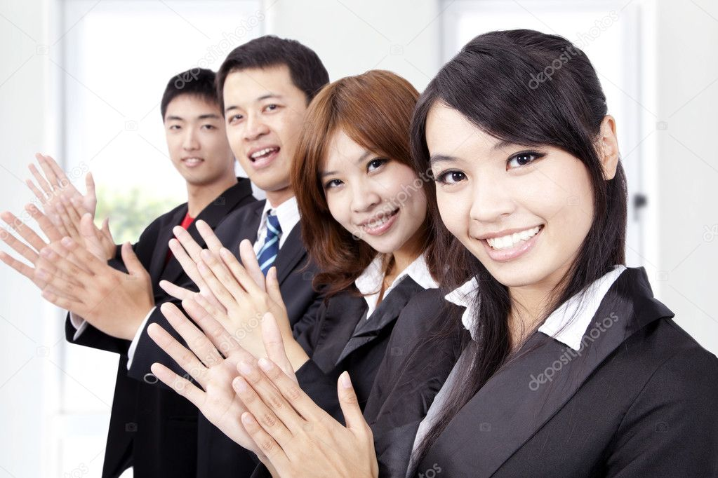 Business applauding and welcome new partner — Stock Photo #4233074