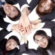 Asian Young Business joining their hands — Stock Photo
