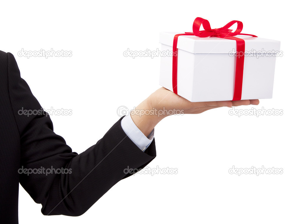 Businessman holding and offer  a gift  — Stock Photo #4565104