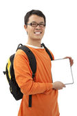 Happy young man holding a touchpad pc — Stock Photo