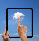 Cloud computing and touch pad concept. hand holding black empty frame and t — Stok fotoğraf