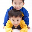 Twin brothers.two happy boys.Isolated with white background. — Stock Photo