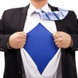 Businessman with courage and superman  concept — Stock Photo