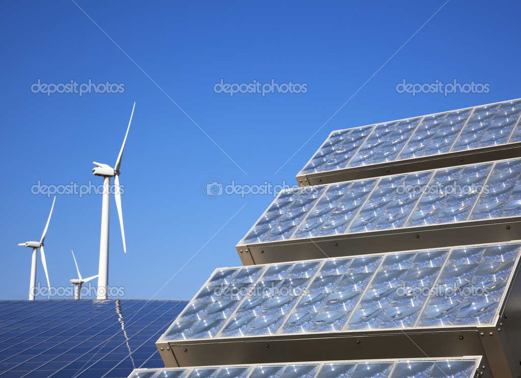 New solar panel and wind turbie  — Stock Photo #5086713