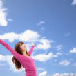 Beautiful Asian Young Woman over blue Sky and relax — Stock Photo