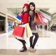 Attractive young sister go shopping in the mall — Stock Photo